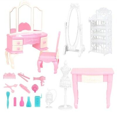 18 Items/lot Dolll House Accessories=Random Colors Chair Desk Mirror For Barbie