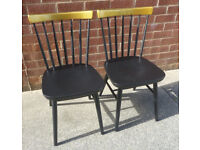 x2 Handpainted Black and Gold Spindle Back Chairs
