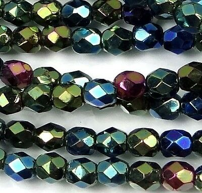 50 Firepolish Czech Glass Faceted Round Beads Iris - Green 4mm