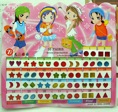 Kid Girl Crystal Stick Earring Sticker Toy Body Bag Party Jewellry ~60pcs~ - Sticker Earrings