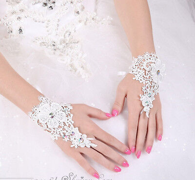 Braut Fingerlose Brauthandschuhe Hochzeit Spitzen  (Spitzen Handschuhe)