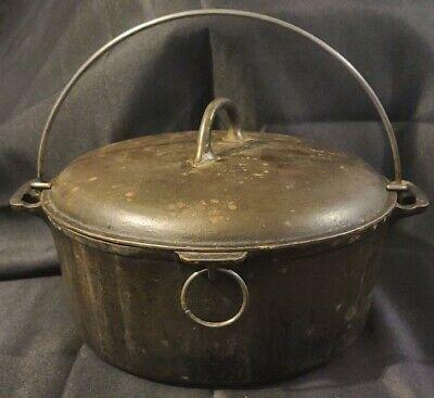 Vtg Favorite Piqua Ware Cast Iron 8p Dutch Oven Pot w Original Lid Needs Restore