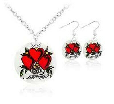 Ed Hardy Mother Of Pearl love Necklace And Earring Set 18 Chain