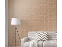 6 rolls Crown Wallpaper geo rose gold design