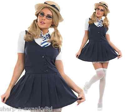 Damen Sexy st Trinians Schulmädchen Kostüm Kleid Outfit UK 8-30 - Übergröße Schule Mädchen Kostüm