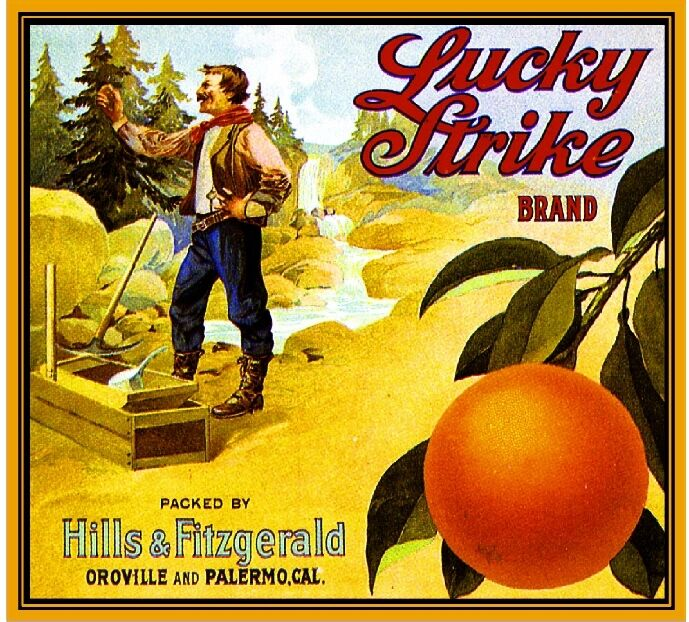 Oroville & Palermo Butte Lucky Strike Orange Citrus Fruit Crate Label Print