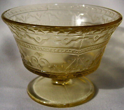 FEDERAL GLASS CO. PATRICIAN SPOKE AMBER FOOTED SHERBET DISH!