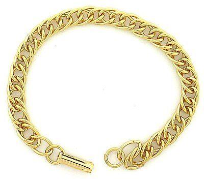 TWENTY FOUR 7 INCH GOLD COLOR DOUBLE CURB BRACELET CLOSEOUT BELOW COST
