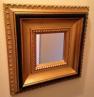 Gold accent mirror - wood frame