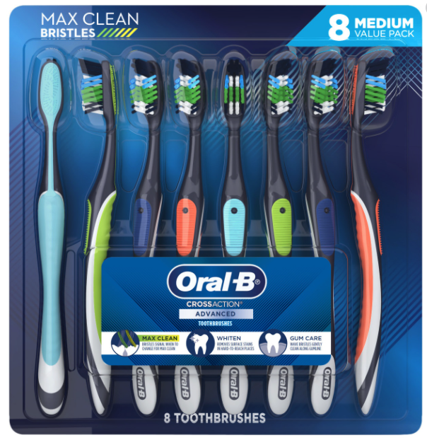 Oral-B CrossAction Advanced Toothbrushes Medium Bristles Val
