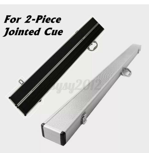 UK 1/2 Silver Aluminum alloy Centre Jointed Pool Snooker Cue Case With Corner