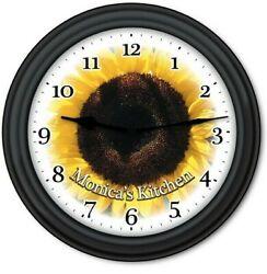 Personalized Sunflower WALL CLOCK - Flower Garden Kitchen Country Decor - GIFT