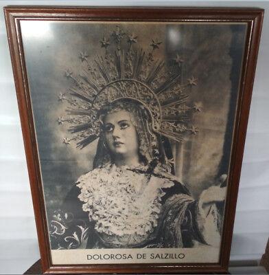 CUADRO VINTAGE, LA DOLOROSA DE SALZILLO HELLIN MARCO CON LAMINA O SIM....