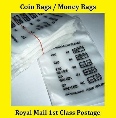 250 Plastic Coin Bags Money Bank Bags No Mixed Coins Change Cash Retail Bag New
