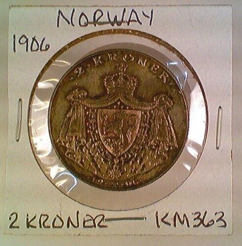 1906 Norway 2 Kroner Silver KM363