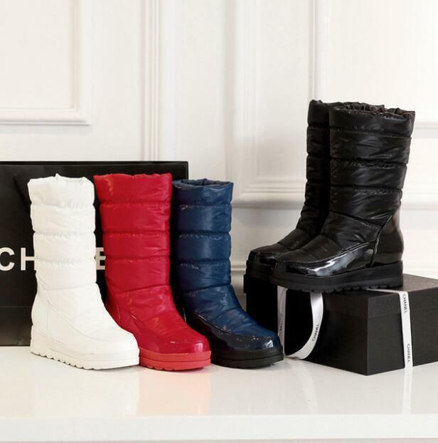 Plus Size Womens Mid Calf Snow Shoes Hidden Heel Waterproof