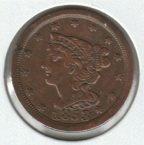 1853 Very Fine VF Braided Hair US Half Cent 1/2C