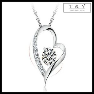 Fashion Women Silver White Gold Plated/Chain/Necklace With Heart Pendant Crystal