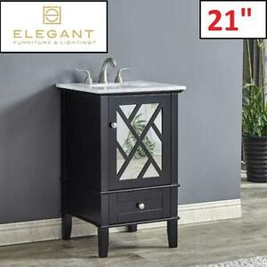 "NEW* 21"" SINGLE BATHROOM VANITY SET VF30221BK 196115994 ELEGANT LIGHTING MARBLE TOP KOEPKE BLACK"