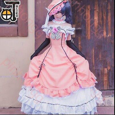 Gothic Butler Kostüme (Black Butler Ciel rosa Cosplay Kostüm costume dress Abendkleid Gothic lang)
