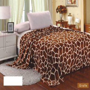 Giraffe Animal Print Blanket Bedding Throw Fleece Full Queen Super Soft