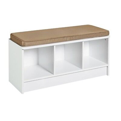 Upholstered Bench For Entryway With Storage White Cushioned Espresso Hallway