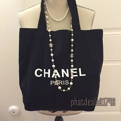 Chanel beauty black canvas tote VIP gift bag