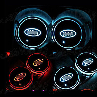 2PCS Colorful LED Car Cup Holder Pad Mat for KIA Auto Interior Atmosphere Lights
