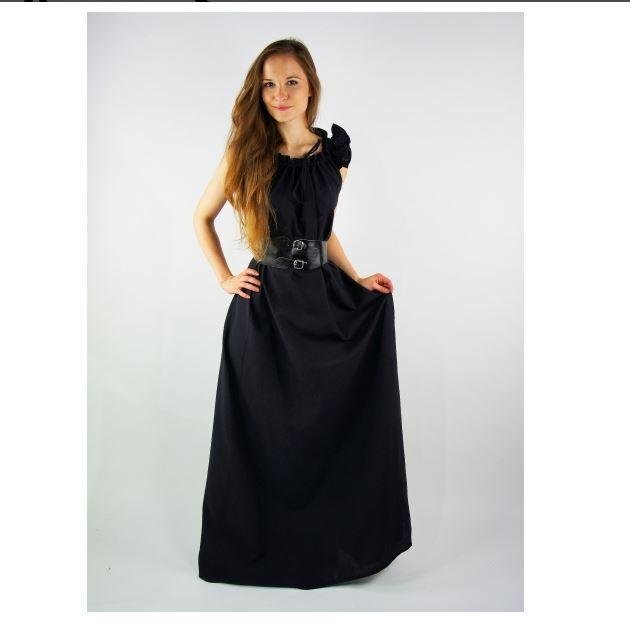 Mittelalter Larp Gewandung Kleid Gewand schwarz Rüschärmel Sommer  Überkleid