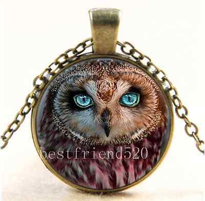 Eyed Owl Pendant - Vintage Owl Green Eye Photo Cabochon Glass Bronze Chain Pendant  Necklace