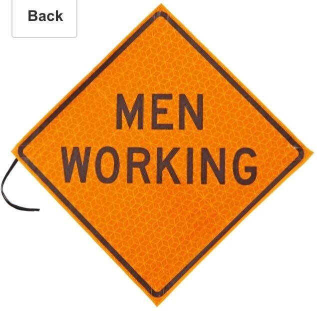 "Jackson Safety 20984 Marathon Orange 48"" Reflective Roll-Up Sign ""Men Working"""