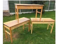 Vintage beech double schools desk x24 available