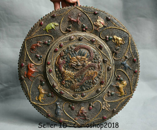 "12.8"" Old Tibet Temple Bronze Painting 12 Zodiac Animal Dragon Thangka Wall Hang"