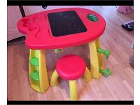 Artist blackboard table and stool