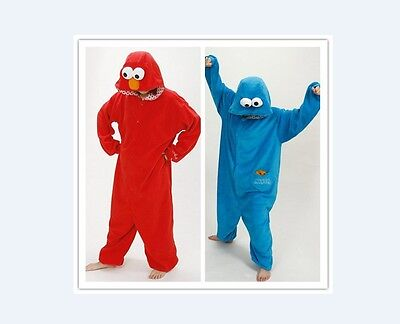 Cookie Monster Onesie12 Kigurumi Fancy Dress Costume Hoodie Adult Cosplay Pajama ()
