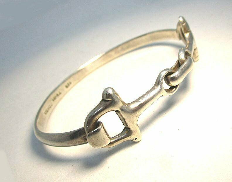 925 Mexican Sterling Silver Stirrup Form Bangle Bracelet 27.1 grams