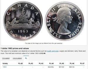 1963 SILVER $1 COIN  HEAVY CAMEO (PROOF-LIKE CONDITION)