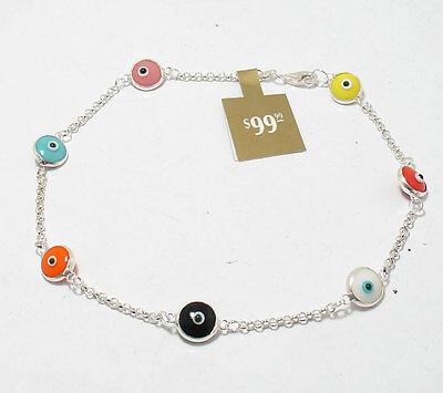 - Multi Color Evil Eye Luck Ankle Bracelet Anklet REAL 925 Sterling Silver FREE SZ