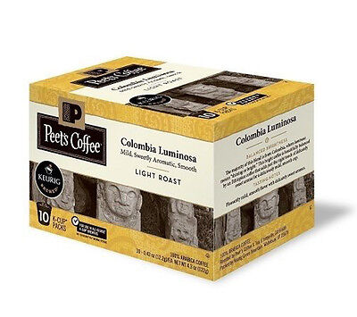 Peet's Coffee Colombia Luminosa Touch off Roast 60 K-Cups, 10 ct 6 boxes, Keurig