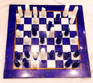 HANDMADE CHESS BOARD SET MADE FROM LAPIS LAZULI AND MARBLE