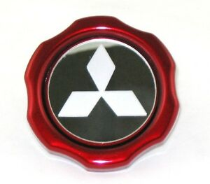 Custom-Candy-Red-Powder-Coated-Mitsubishi-Eclipse-EVO-3000GT-Logo-Etched-Oil-Cap