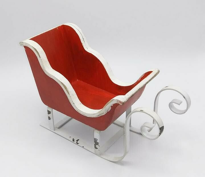 NEW Rustic Red & White Sleigh Vintage Style