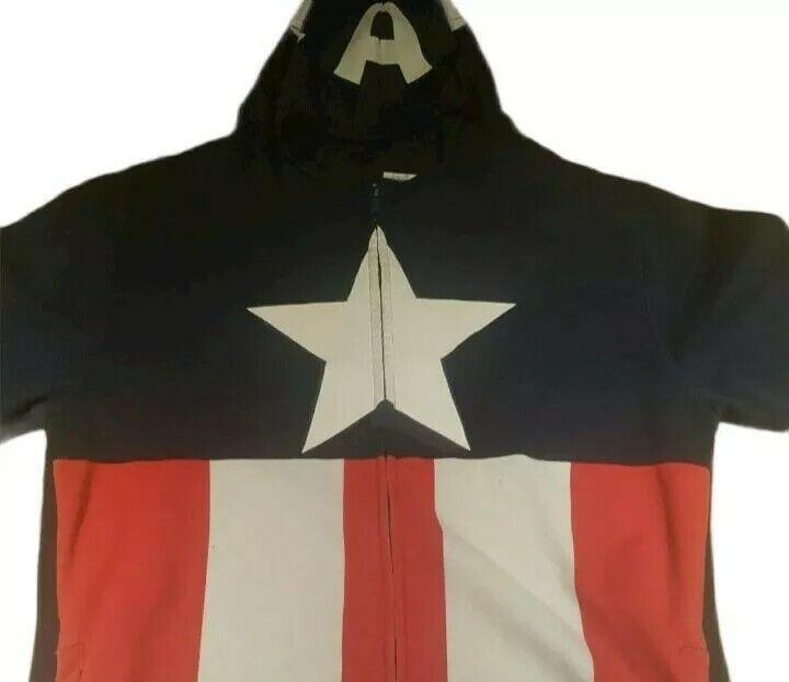 Marvel Captain America Jacket Costume Halloween Adult Hooded Mask Large