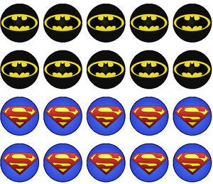 30 Batman Vs Superman Edible Cupcake Toppers Party Decoration PRECUT