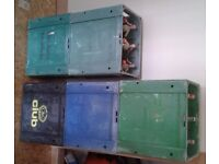 5 x vintage beer crates / soda syphon crates & 29 etched glass soda syphons - SWAP for trailer