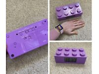 Purple Lego building block clock