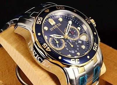 - 0077 Invicta 48MM Pro Diver Scuba Blue Chronograph Dial Two-Tone SS Band Watch