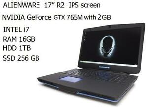 ALIENWARE 17 , Gaming , Intel Quad i7-4700MQ turbo 3.4GHZ, 16GB ,1TB + 256 GB SSD, Nvidia GTX 765