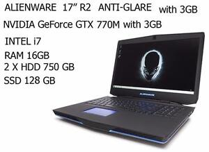 ALIENWARE 17 R2 quad i7 TURBO 3.4GHZ 16GB 1.5 TB + 128 GB SSD GTX 770m +Mc Office 2016