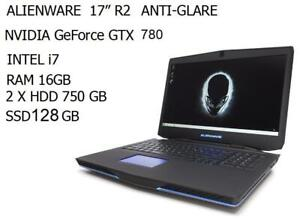 ALIENWARE 17 FHD,Matte, GAMING, Intel quad core i7 3.5GHZ ,RAM 16GB ,128GB SSD, 1.5 TB HDD, Nvidia GeForce GTX 780m, 3GB